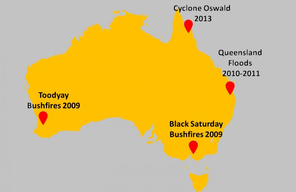 An illustration of several natural hazards around Australia. Photo: Mehmet Ulubasoglu.