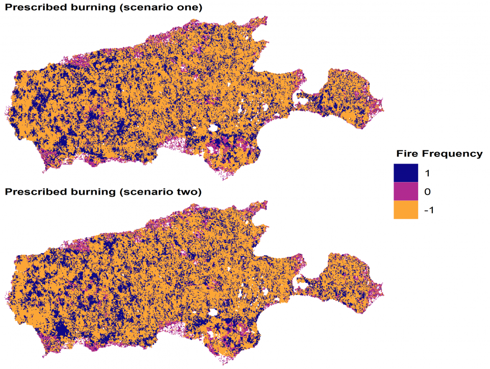 Locations on Kangaroo Island where wildfire frequency differed between the wildfire only and the prescribed burning burning scenarios.