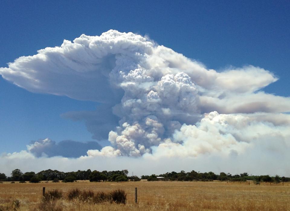 Waroona fire. Photo: Neil Bennett, Bureau of Meteorology.