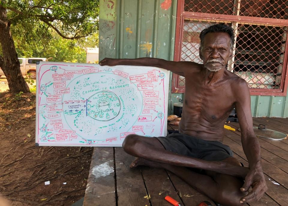 Richard Gandawuy in Galiwin'ku with participatory workshop community governance diagram 2020.  Image with permission from Gandawuy and Danny Burton (photographer) 2020.