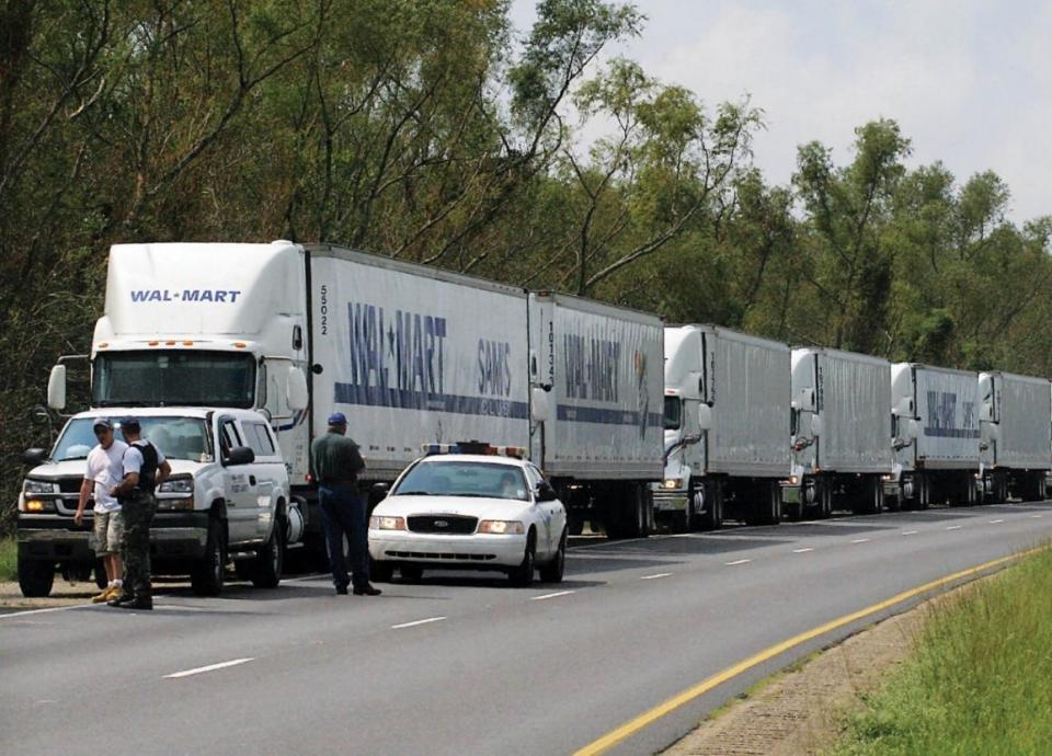 A convoy of WalMart trucks.