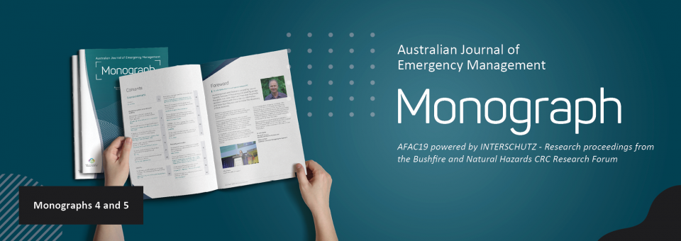 A hand holds open research proceedings from AFAC19 powered by INTERSCHUTZ, which were published in two Australian Journal of Emergency Management Monographs.