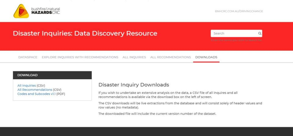 The Bushfire and Natural Hazard CRC's Inquiries and Reviews database contains a catalogue of 300 inquiries and reviews relating to emergency management/natural hazards across all jurisdictions in Australia between 1886 and 2017.