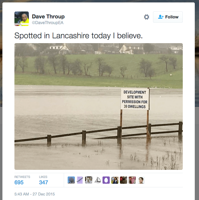 Tweet from the Christmas 2015 floods in the UK.