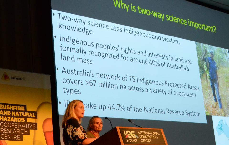 Michelle McKemey, University of New England & Lesley Patterson, Banbai Aboriginal Elder and Ranger speaking at the 6th International Fire Behaviour and Fuels Conference, Sydney