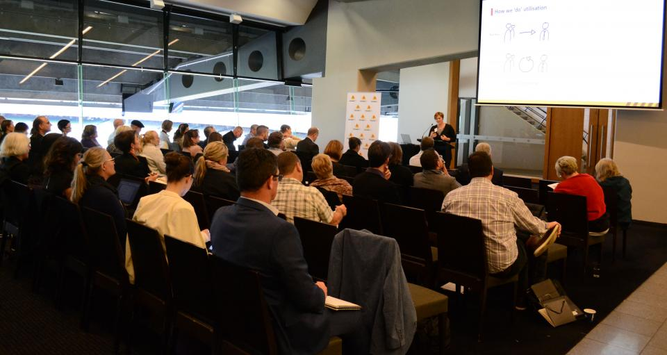 Dr Blythe McLennan presenting at the Research Advisory Forum in Melbourne
