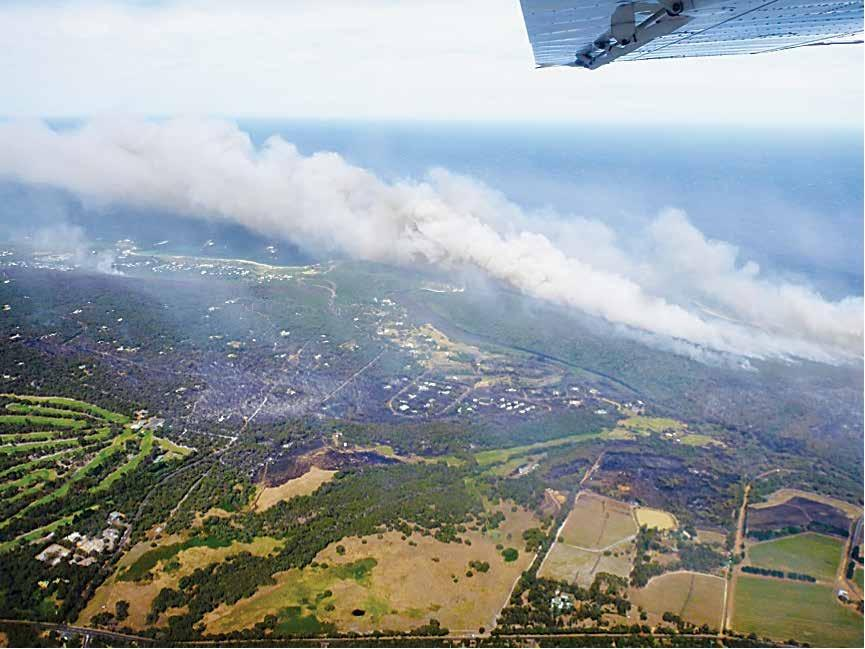 An aerial shot of the damage from the Margaret River fire in 2011