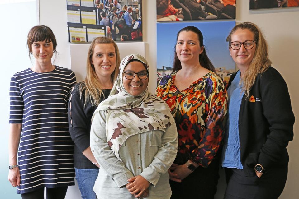 (left to right) Catrin Harris, Vaia Smirneos, Radhiya Fanham, Loriana Bethune, Kelsey Tarabini