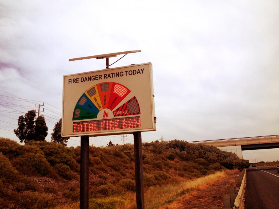 A FDR sign displaying a TFB and Extreme conditions