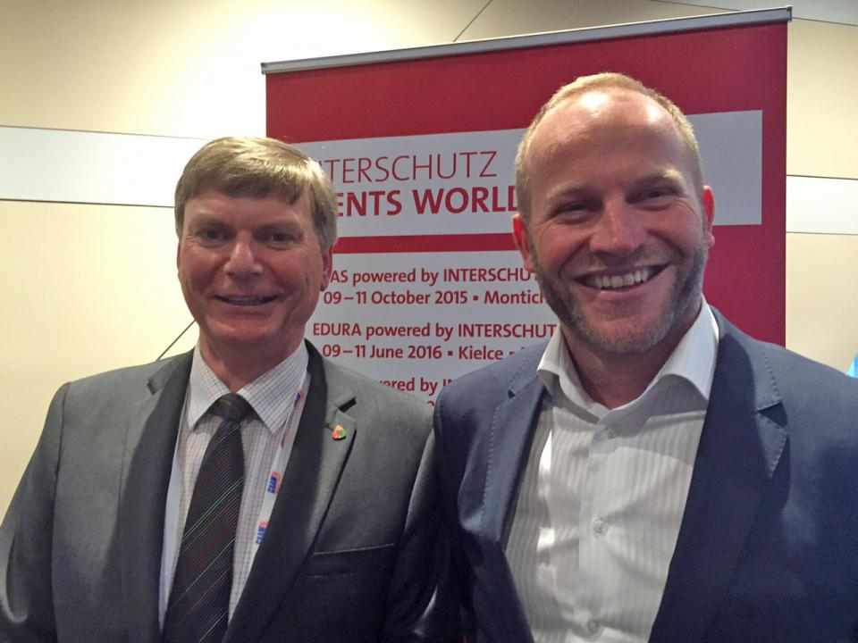 AFAC CEO Stuart Ellis and Harvey Stockbridge, Managing Director of Hannover Fairs Australia
