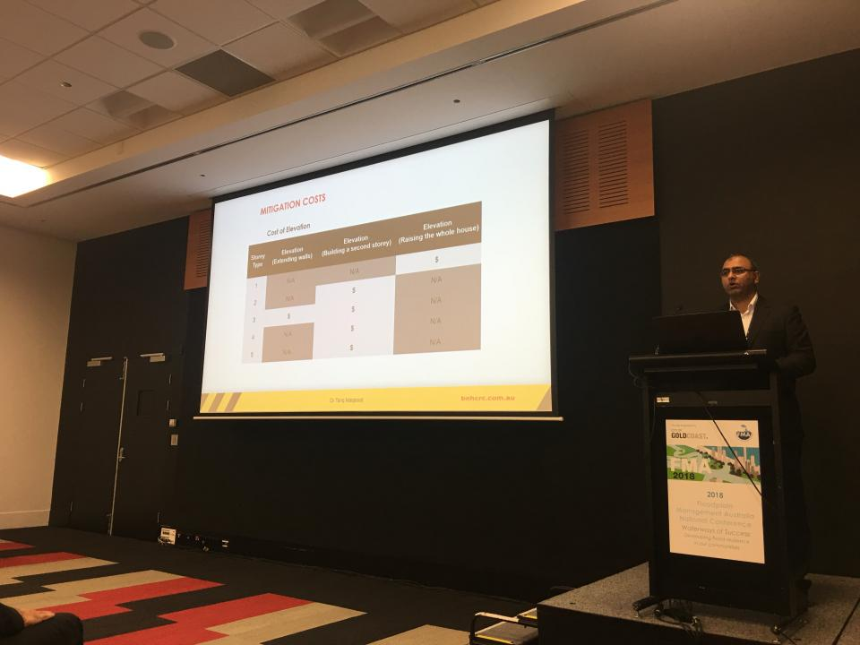 Dr Tariq Maqsood presenting at the 2018 Floodplain Management Association conference.