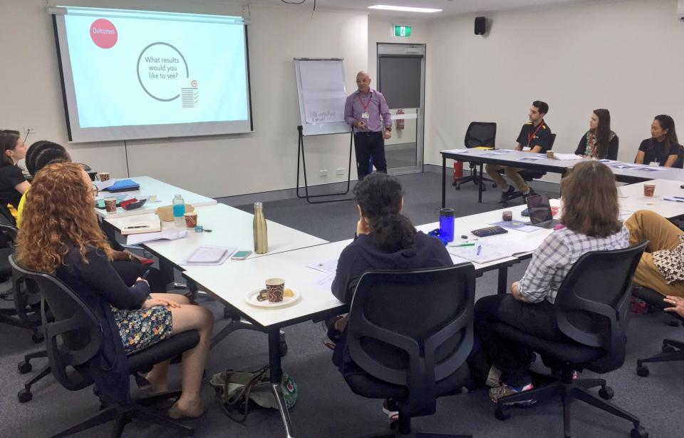 Students take part in a workshop on presentation skills.