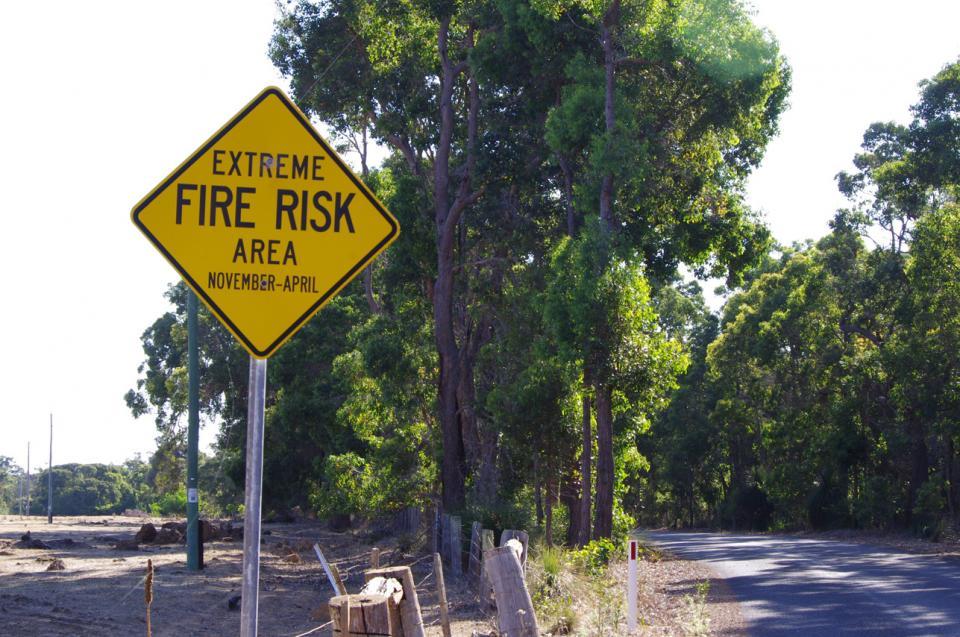 Fire risk sign near Margaret River.