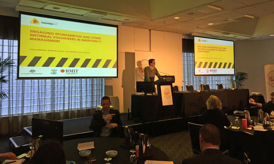 Josh Whittaker presenting at the EMPA conference, 2016.