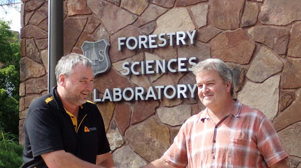 Michael Rumsewicz and Dave Culkin at the the US Forest Service Rocky Mountain Research Station in Missoula.