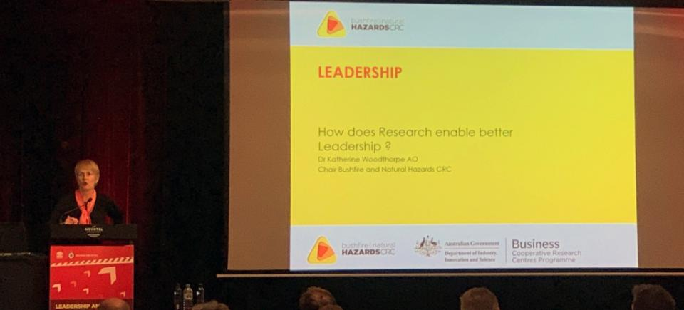 CRC Chair Dr Katherine Woodthorpe at the NSW RFS Leadership and Young Members Forum 2019