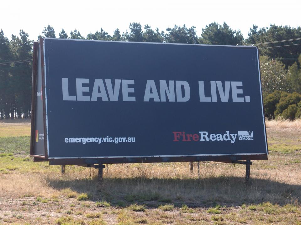 Leave and live sign