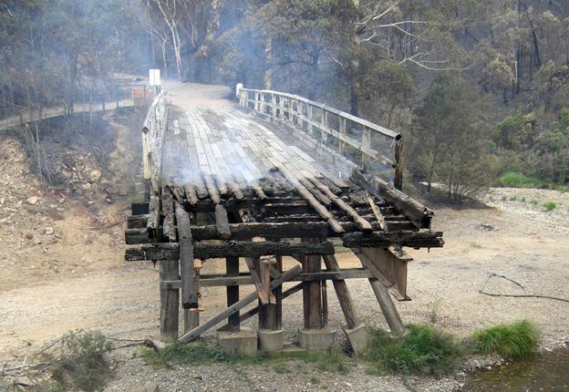Bridge fire Gippsland Vic