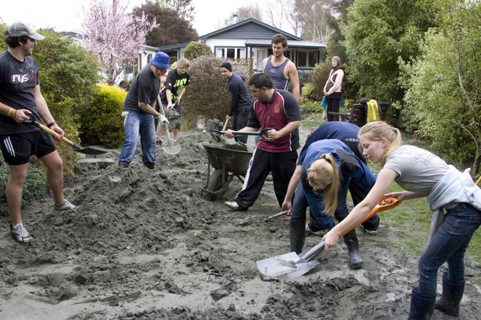 Volunteers at Christchurch earthquake