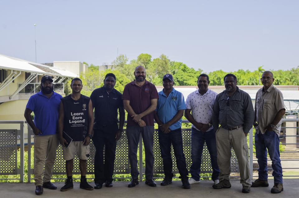 Ricky Archer (fourth from left) with fellow Indigenous land managers at the CRC's 2020 Northern Australia Research Engagement Forum. Photo: NAILSMA