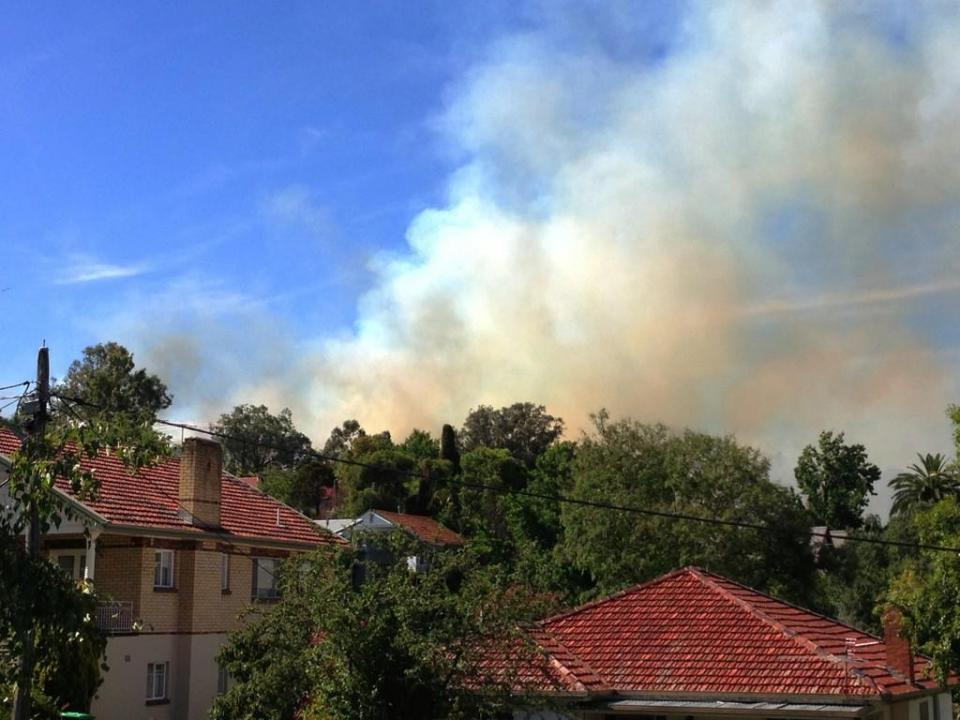 Fires close to homes in Albury, Victoria, January 2013. Photo: @kewinator.