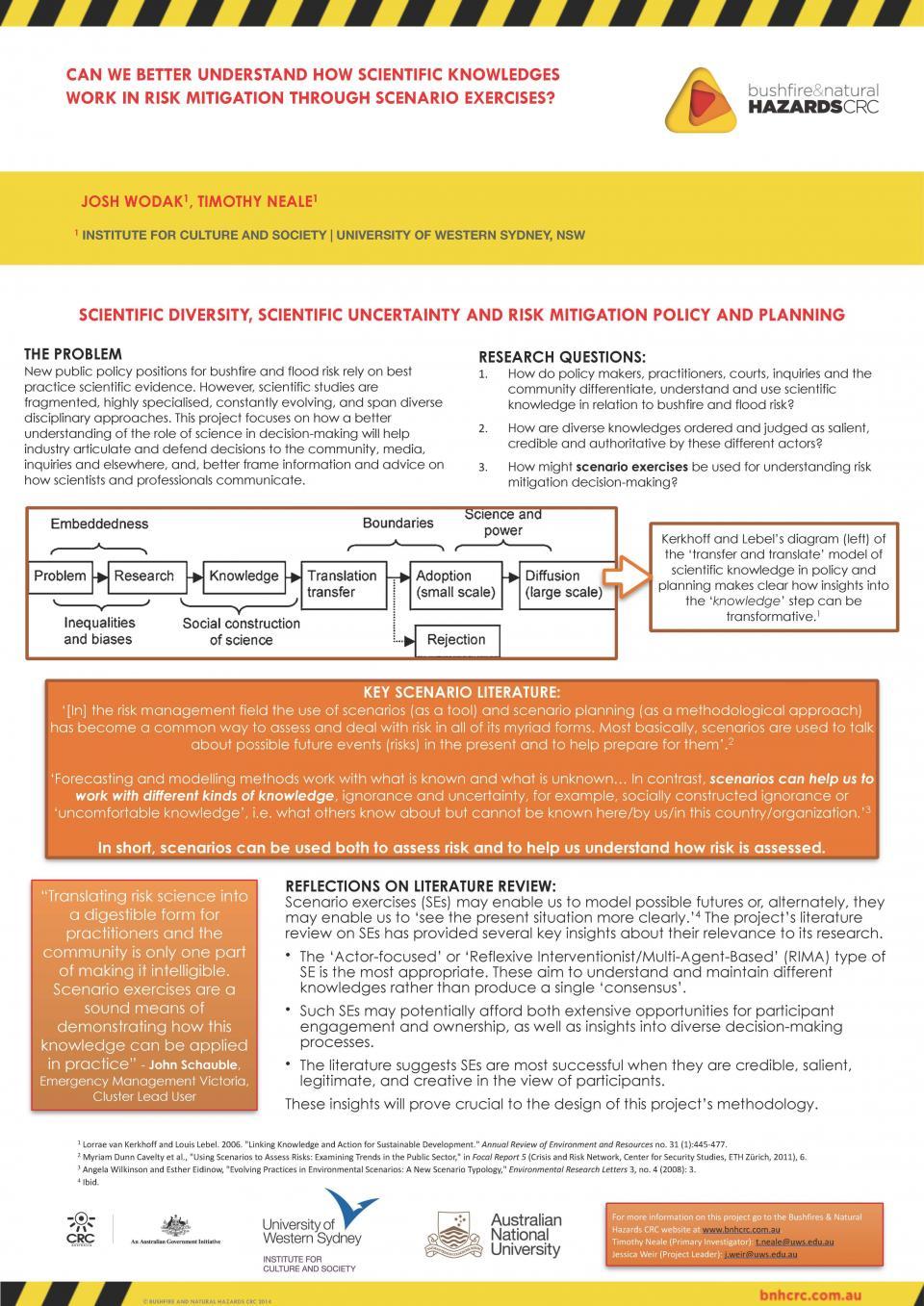 Can we better understand how scientific knowledges work in risk mitigation through scenario exercises?