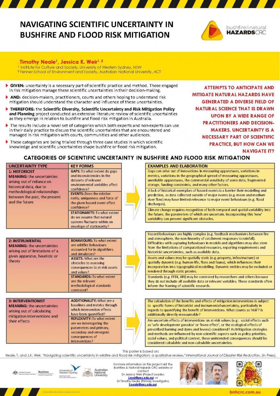 Navigating scientific uncertainty in bushfire and flood risk mitigation
