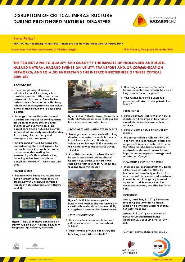 Disruption of critical infrastructure during prolonged natural disasters