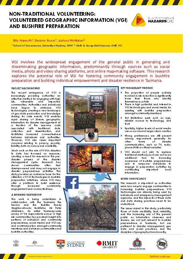 Non-traditional volunteering: Volunteered geographic information (VGI) and bushfire preparation