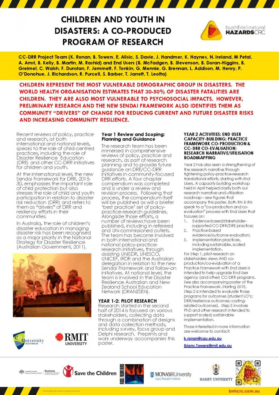Children and Youth in Disasters: A Co-Produced Program of Research
