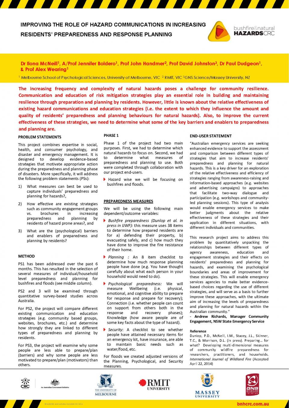 Improving the role of hazard communications in increasing residents' preparedness and response planning