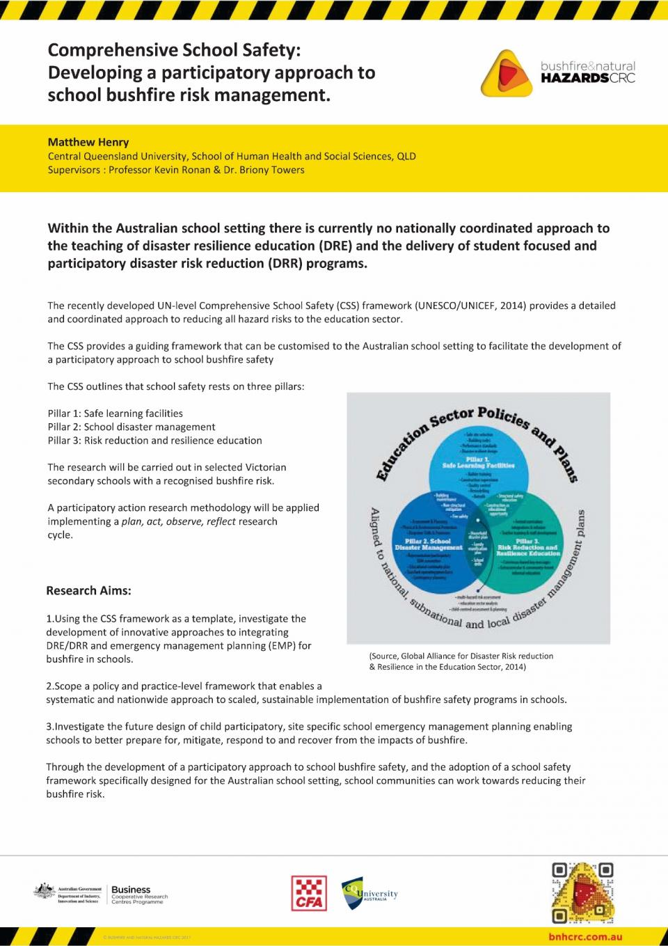 Comprehensive school safety: developing a participatory approach to school bushfire risk management