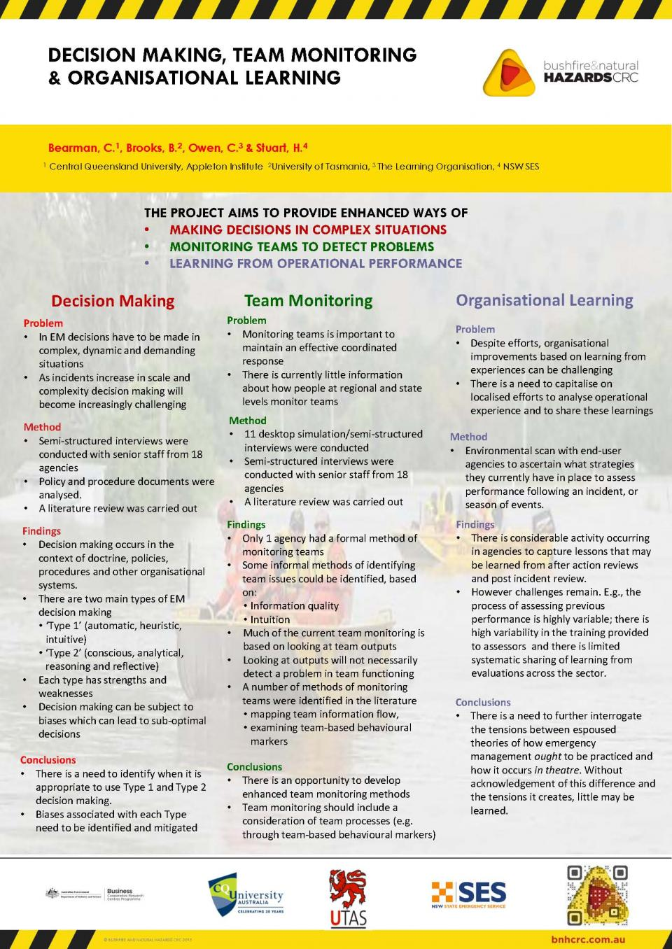 Decision Making, Team Monitoring and Organisational Learning
