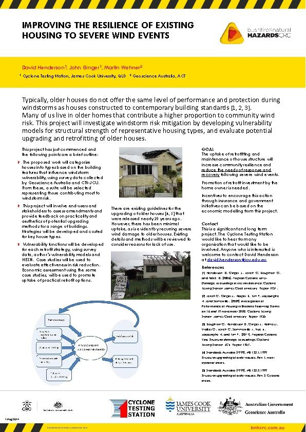 Improving the resilience of existing housing to severe wind events