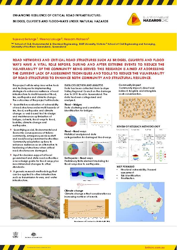 Enhancing resilience of critical road infrastructure: Bridges, culverts and flood-ways under natural hazards