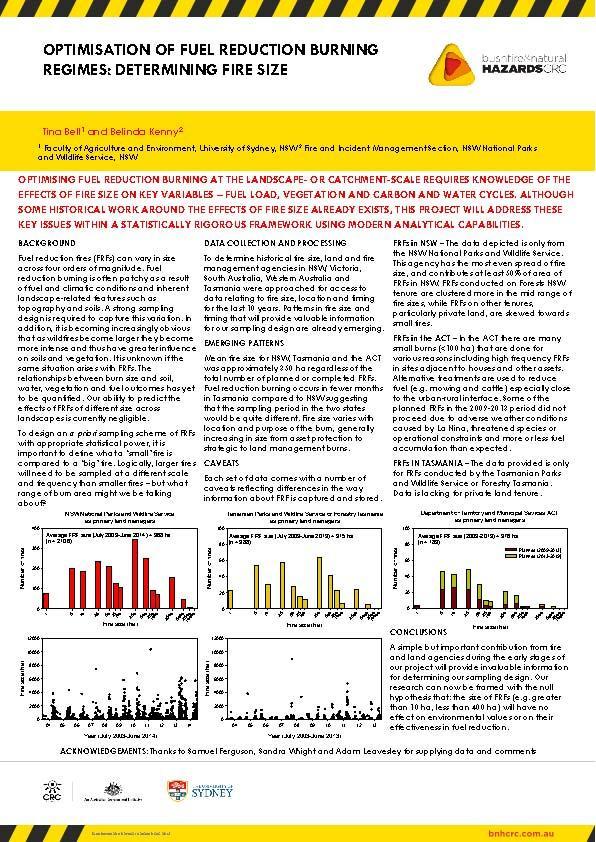 Optimisation of fuel reduction burning regimes: Determining fire size