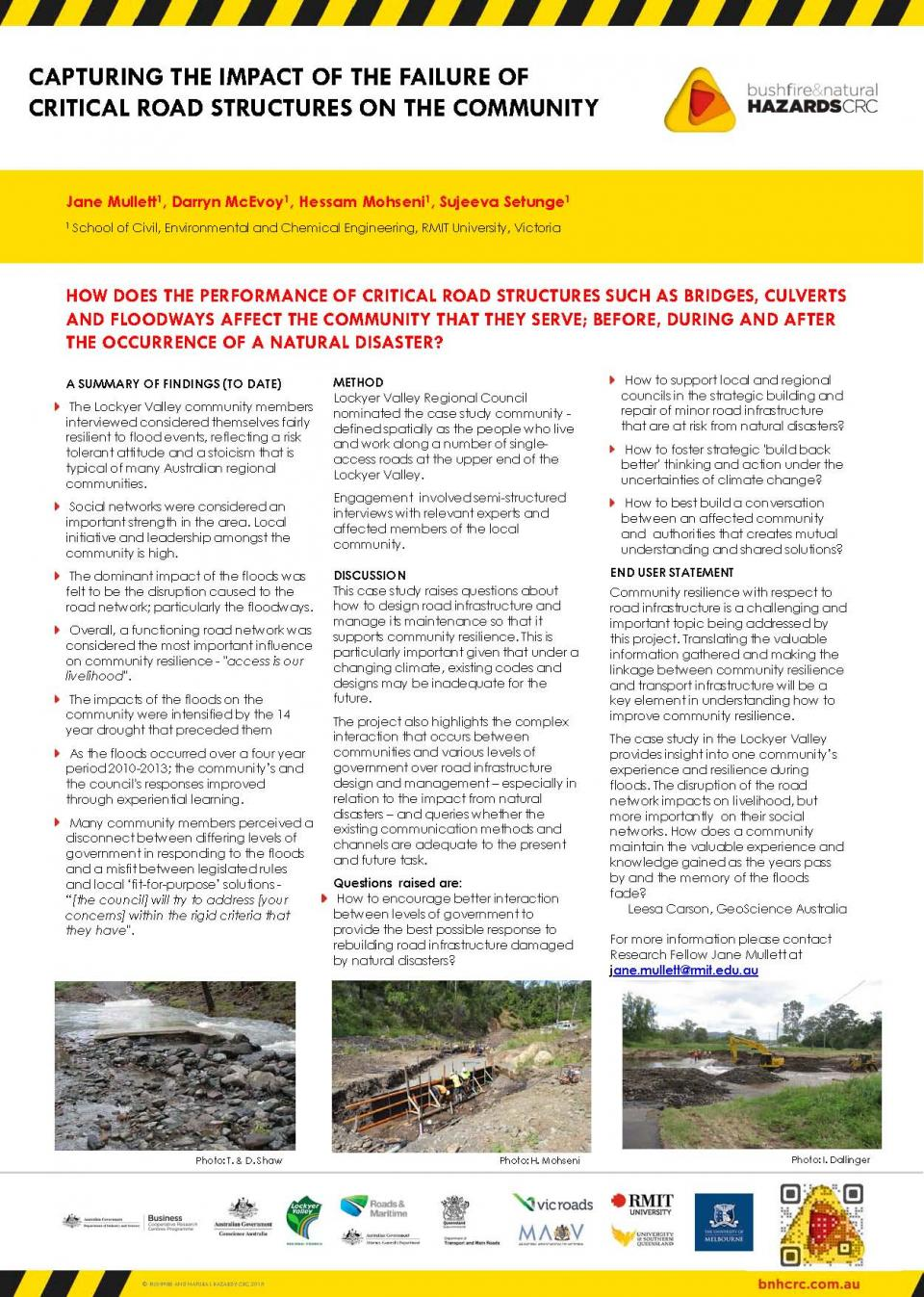 Capturing the Impact of the Failure of Critical Road Structures on the Community