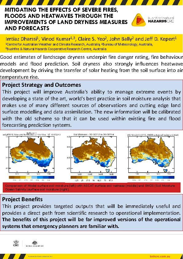 Mitigating the effects of severe fires, floods and heatwaves through the improvements of land dryness measures and forecasts