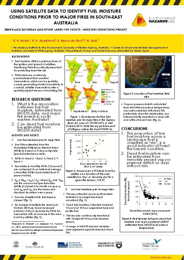Using satellite data to identify fuel moisture conditions prior to major fires in South-East Australia 2009 Black Saturday and other large fire events - Moisture conditions project