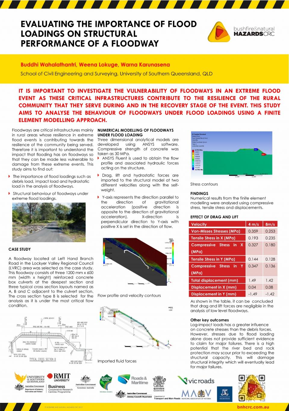 Evaluating the performance of flood loadings on structural performance of a floodway