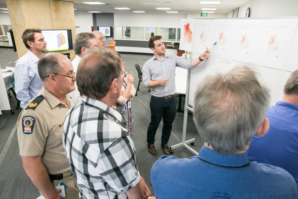Researcher Graeme Riddell shows SA end-users aspects of the decision support system. Photo Tim Allan