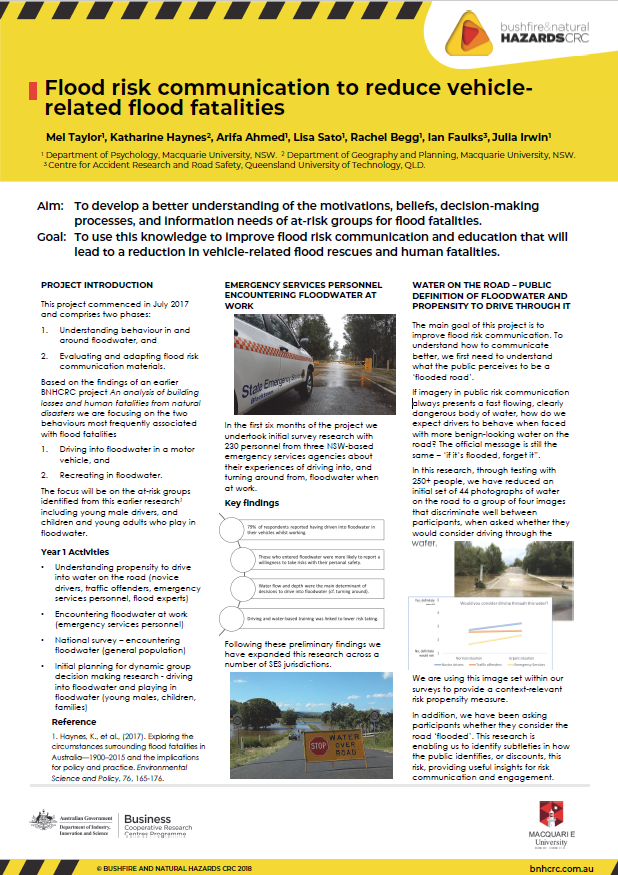 Flood risk communication to reduce vehiclerelated flood fatalities