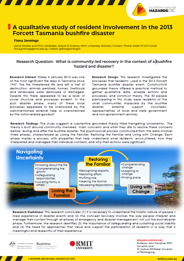 A qualitative study of resident involvement in the 2013 Forcett Tasmania bushfire disaster