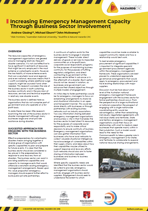 Increasing Emergency Management Capacity Through Business Sector Involvement