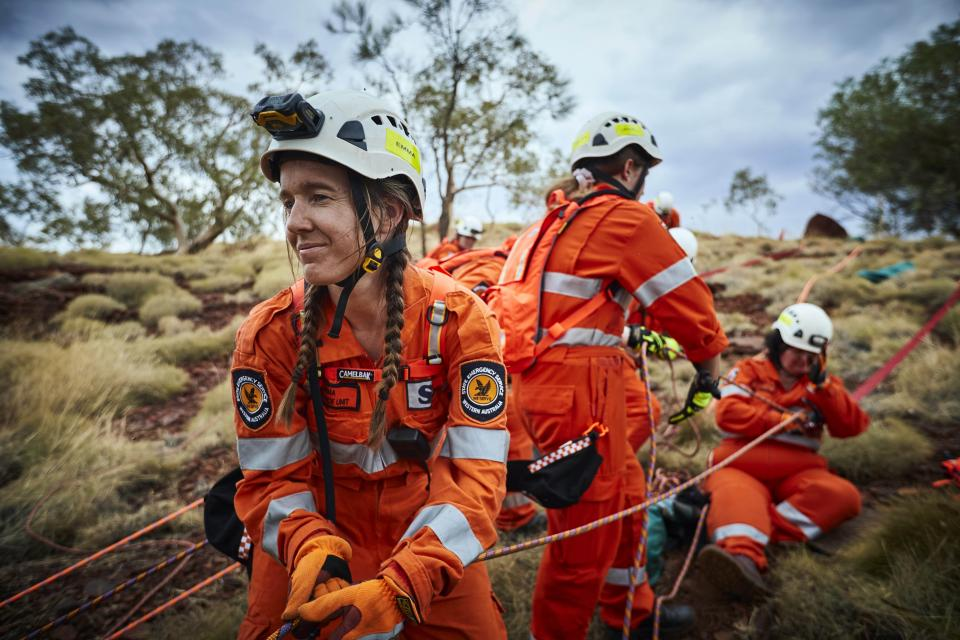 SES volunteers in WA performing a rescue. Photo: Department of Fire and Emergency Services WA.