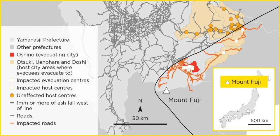 The potential impact of 1mm or more of ash fall from a future 1707 type eruption at Mount Fuji, Japan.