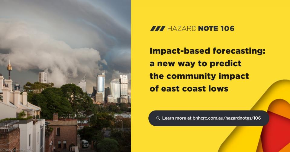 Hazard Note 106 - Impact-based forecasting: a new way to predict the community impact of east coast lows