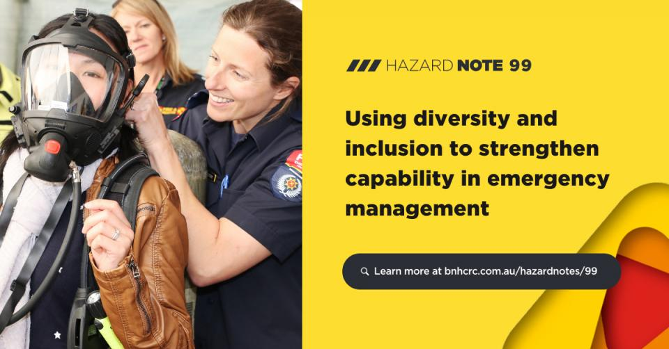 This research considered diversity and inclusion in the emergency management sector and assessed what is needed to support more effective practices.