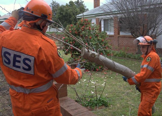 NSW SES members assist with Grenfell storm damage. Photo credit: NSW SES.