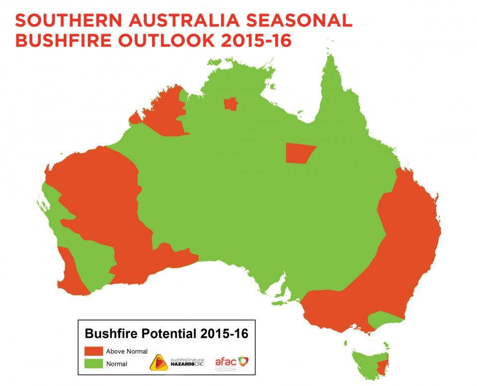 Us Wildfire Map 2015.Southern Australia Seasonal Bushfire Outlook 2015 16 Bushfire